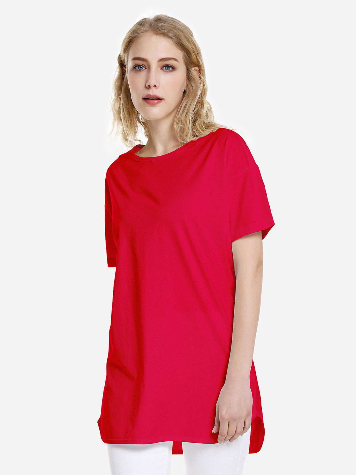 T-shirt ourlet dauphin Rouge Clair XL