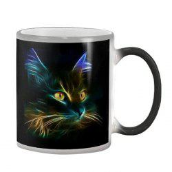 3D Creative Cat Pattern Color Changing Heat Sensitive 350ML Ceramic Cup -