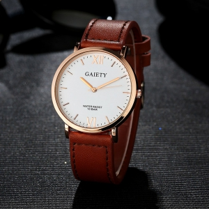 GAIETY  Men's Rose Gold Simple Leather Band Wrist Watch G032 -