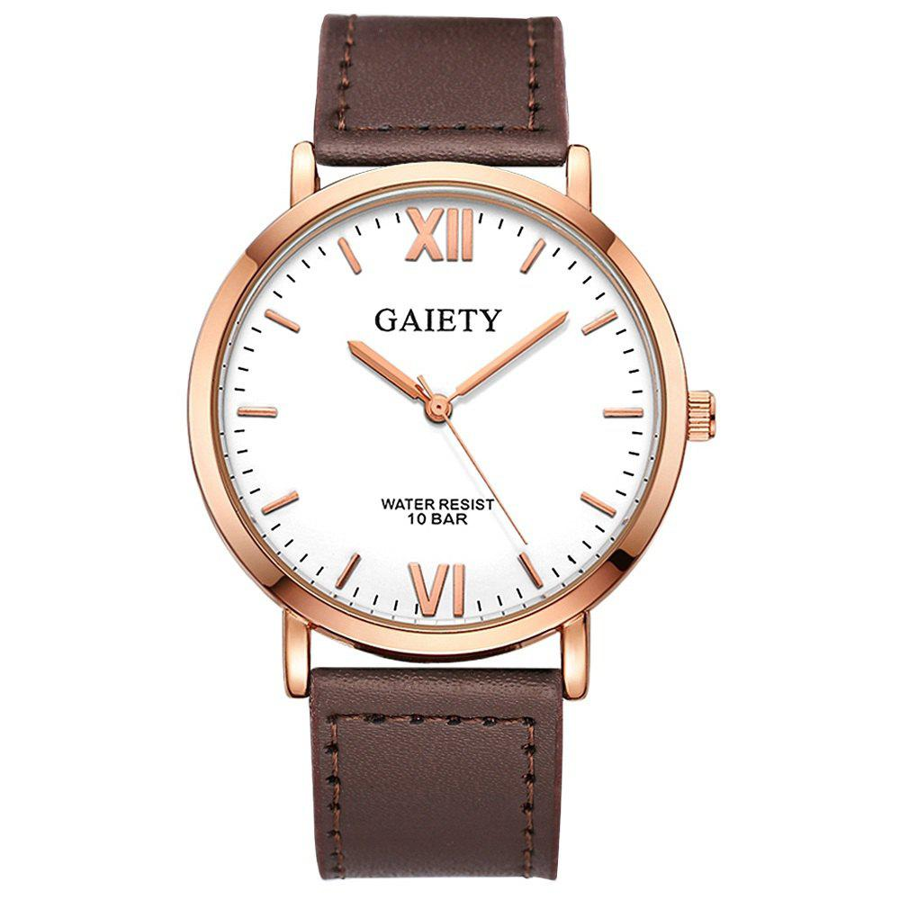 Unique GAIETY  Men's Rose Gold Simple Leather Band Wrist Watch G032