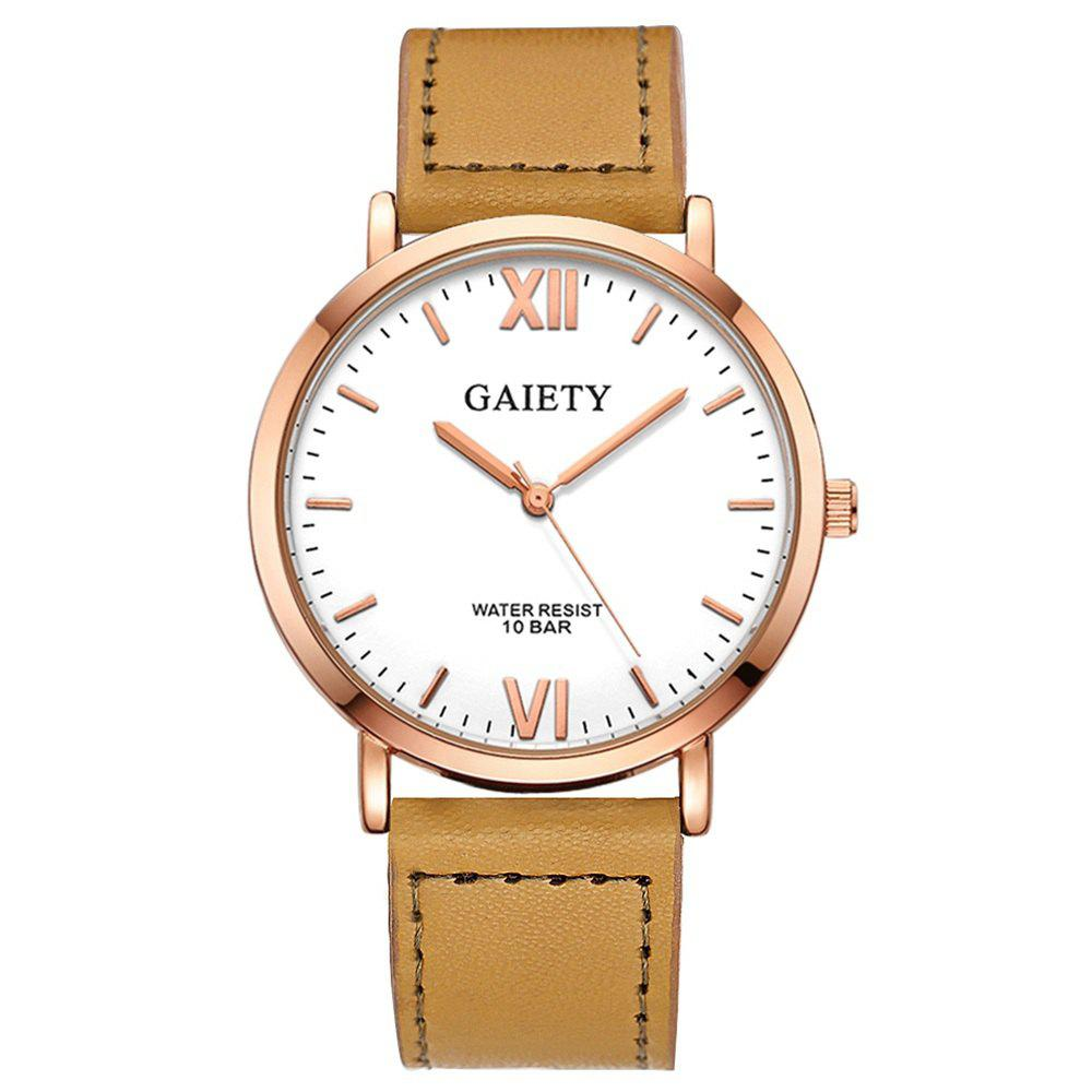 Sale GAIETY  Men's Rose Gold Simple Leather Band Wrist Watch G032