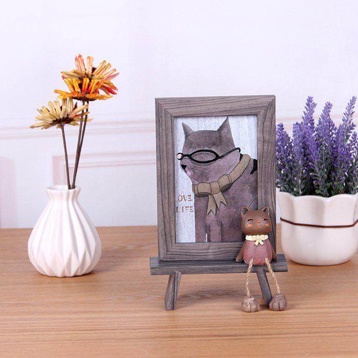 New Creative Wooden 6 inch Cat Photo Frame