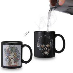 Skull- Beauty Face Heat Sensitive Mug Picture Changing Thermal Reaction Cup -