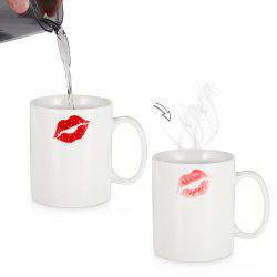 Red Lip Heat Sensitive Mug Color Changing Thermal Reaction Cup Gift for Lover -