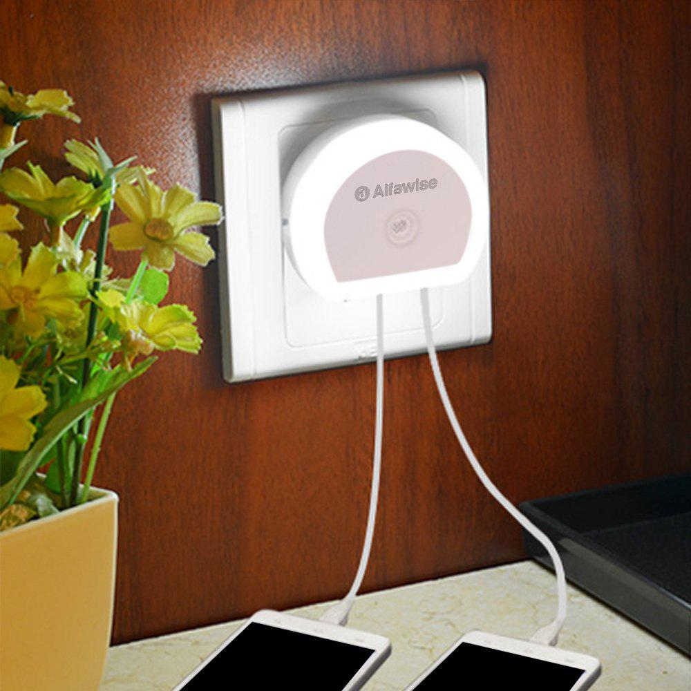 Online Alfawise HTV - 777 5V 1A Dual USB Ports Adapter Charger with Sensitive Light-sensor Night Light