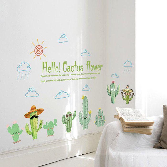 2019 sk7160 creative stylish cactus pattern wall stickers for living