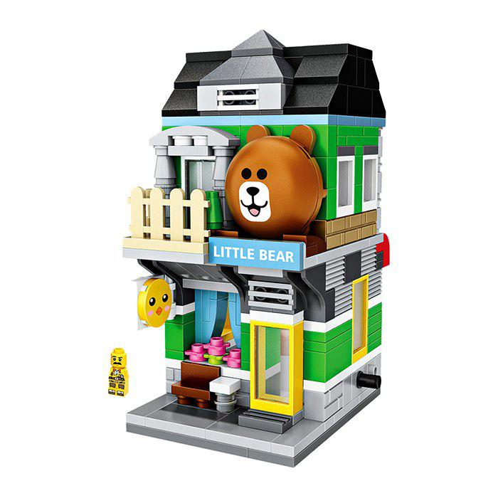 Hot LOZ Bear Shop Mini Street View Building Blocks Toy for Kids