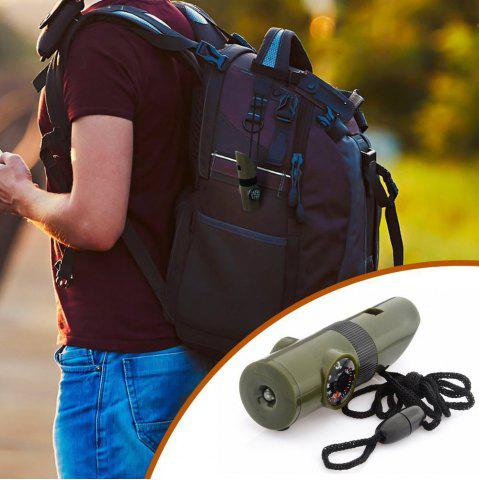 Online 7 in 1 Military Multi-function Outdoor Survival Whistle Compass Hiking Climbing Accessory