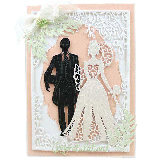 New Bride Groom Template Embossing Stencil DIY Carbon Steel Cutting Die for Cards Scrapbooking 2pcs