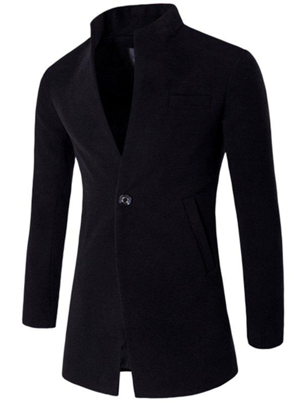 Unique Male Fashion Stand Collar Wool Blazer Jacket