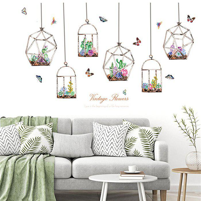 SK7174 Creative Wall Sticker Set SucculentPlants Mural Decals for Home Decoration