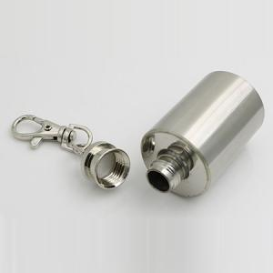 1 Ounce Stainless Steel Cylinder Shape Mini Wine Pot with Keychain -