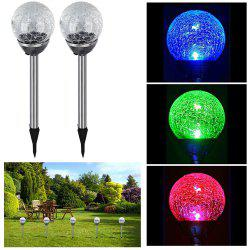 Solar Powered Path Lights Crackle Glass Ball Lamp for Lawn Patio Yard Walkway 2PCS -