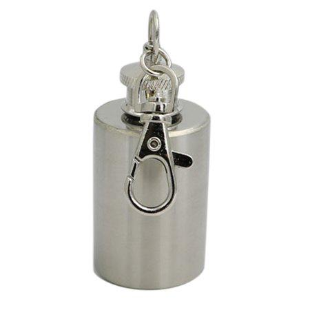 Chic 1 Ounce Stainless Steel Cylinder Shape Mini Wine Pot with Keychain
