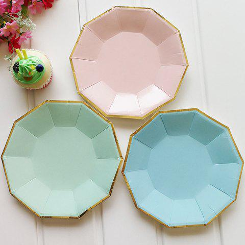 Outfit Creative Solid Color Decagon Shape Paper Plate 8pcs / Pack