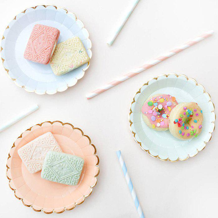 Online Stylish Solid Color Paper Round Plate 8pcs / Pack