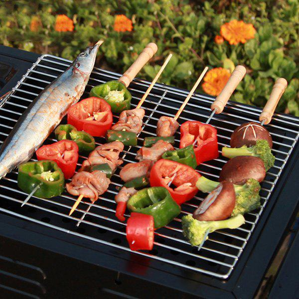 New Zinc Alloy Barbecue Kebab Skewer with Wooden Handle 10PCs