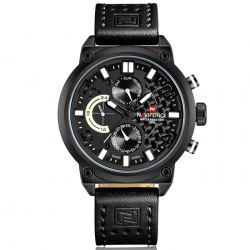 Naviforce Luxury Leather Band Men Sports Wristwatch -