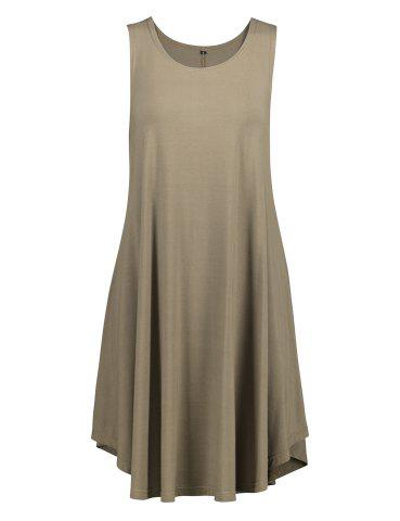 ZAN.STYLE Sleeveless Swing Tunic Dress Tank Top - OLIVE GREEN - S