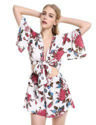 ZAN.STYLE Floral Knot Front Playsuit -