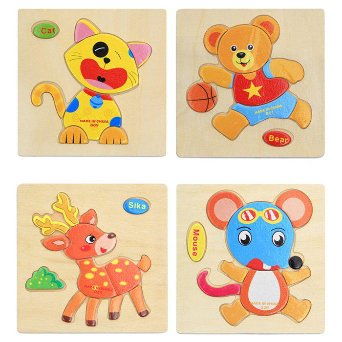 Trendy Children Cartoon Animal Three-dimensional Puzzle Jigsaw Toy 4PCS