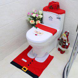 Christmas Styling Bathroom Decoration Kit with Carpet / Radiator Cap / Toilet Seat -