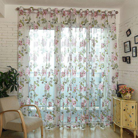 Sale Flower Pattern Window Screen Sheer Curtain with Stick Holes