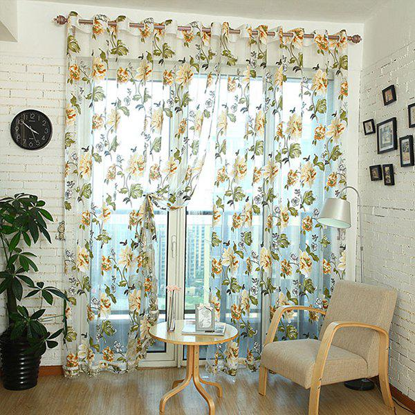 Online Flower Pattern Window Screen Sheer Curtain with Stick Holes