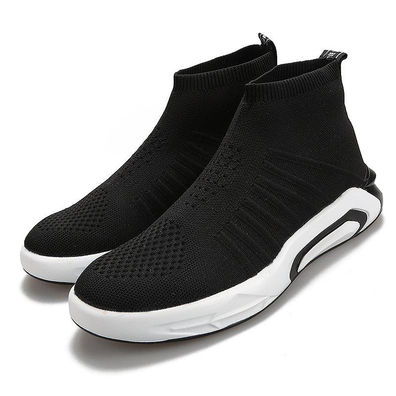 Fancy Men Round Toe Breathable High-top Casual Shoes