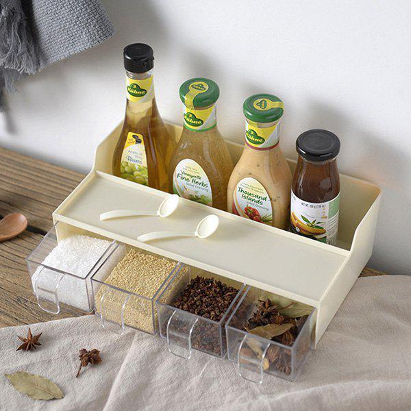 Trendy Wall-mounted Rotating Seasoning Box  No Trace Multi Layer Condiment With 4 Spoons