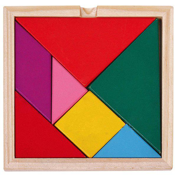 Trendy Educational Colorful Wooden Tangram Puzzle Toy Set