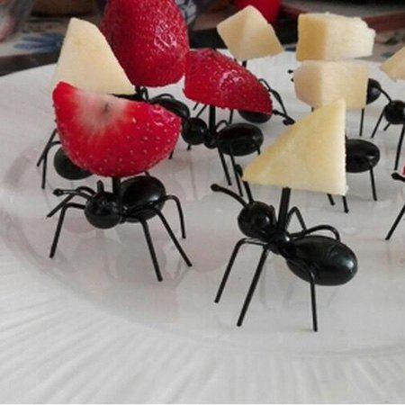 Trendy Creative Fruit Fork Party Ant Shape Toothpick 12pcs