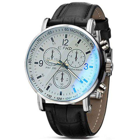 Shops Men Faux Leather Blue Ray Glass Quartz Analog Watches Brown