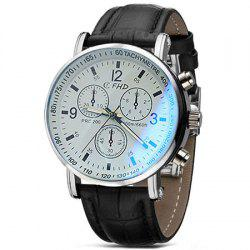 Men Faux Leather Blue Ray Glass Quartz Analog Watches Brown -