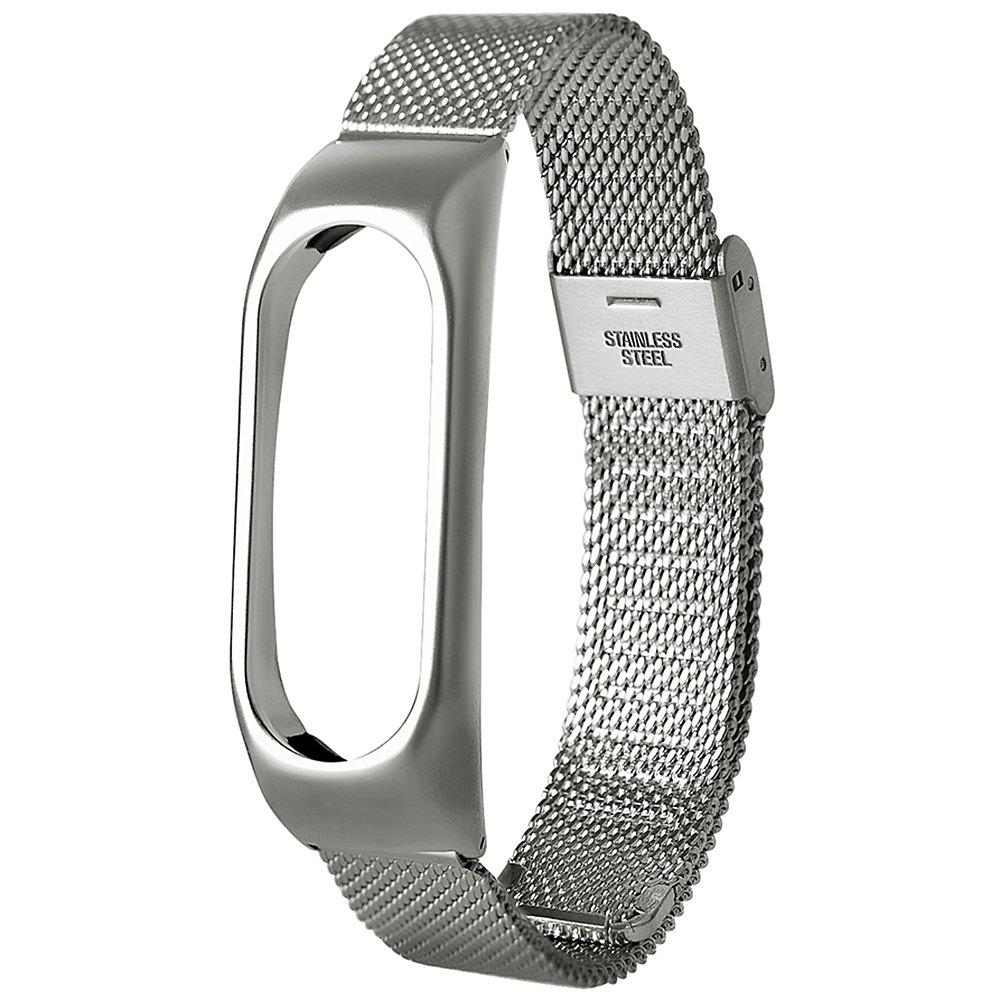 2018 Stainless Steel Wristband For Xiaomi Mi Band 2 In Silver Bonus Screen Guard Affordable