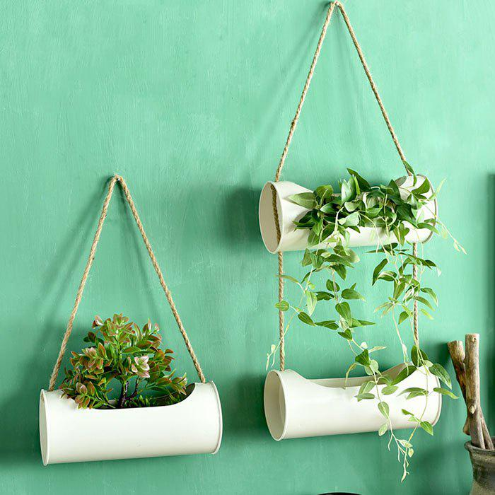Sale Creative Iron + Hemp Rope Hanging Basket Home Decoration