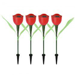 Tulip Flower Shape Solar Powered LED Lamp Outdoor Yard Garden Lawn Path Light 4pcs -