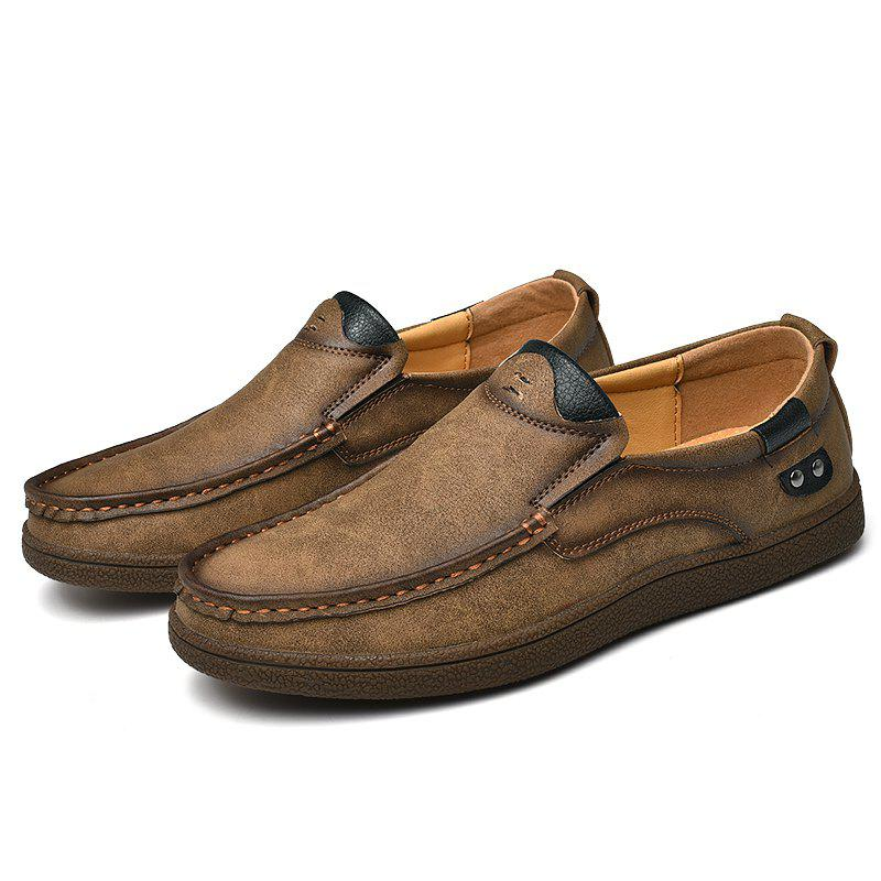 New Stylish Leather Breathable Anti-slip Flat Shoes for Men
