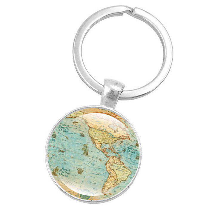 Fashion Map Style Key Chain Collection Gift Key Ring