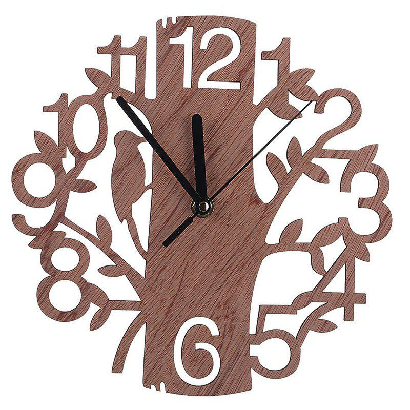 Unique Creative Wooden Home Wall Clock Delicate Tree Pattern