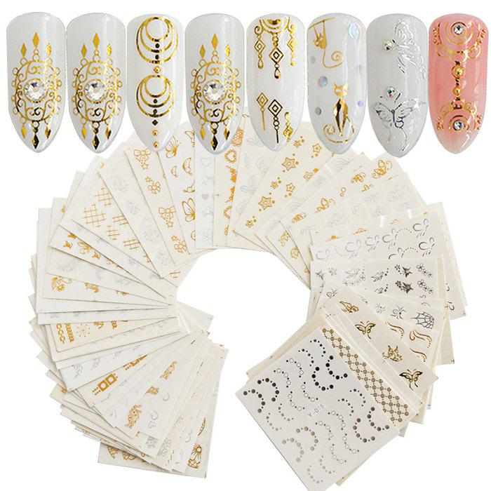 Shop Fashion DIY Decoration Nail Sticker Gold and Silver Embossed 30PCS