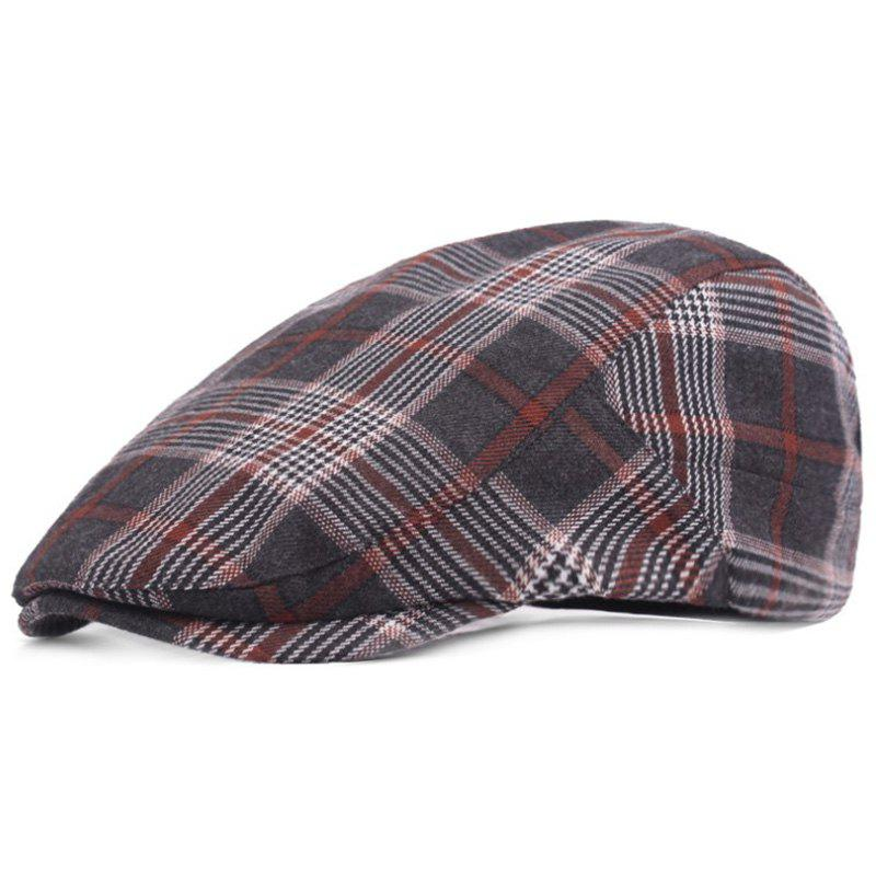 Online Casual Breathable Outdoor Grid Cotton Visor Forward Hat Cap Beret