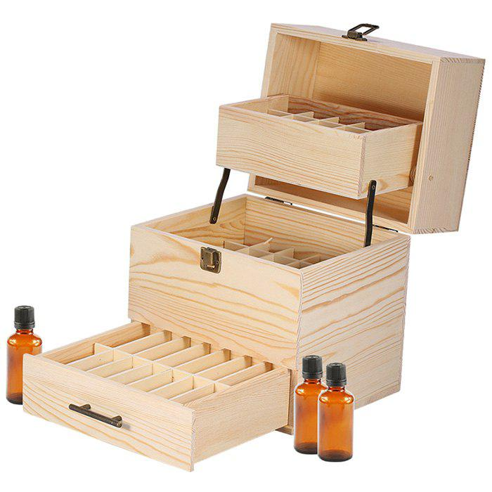 Online Wood 3-tier Large Capacity Grids Essential Oil Storage Box