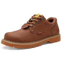Men All-match Round Toe Breathable Fashion Outdoor Casual Leather Shoes -