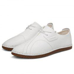 Stylish Round Toe Platform Flat Heel Leather Casual Shoes for Men -
