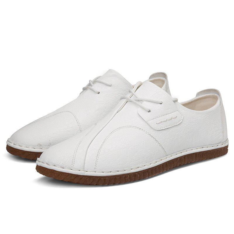 Trendy Stylish Round Toe Platform Flat Heel Leather Casual Shoes for Men