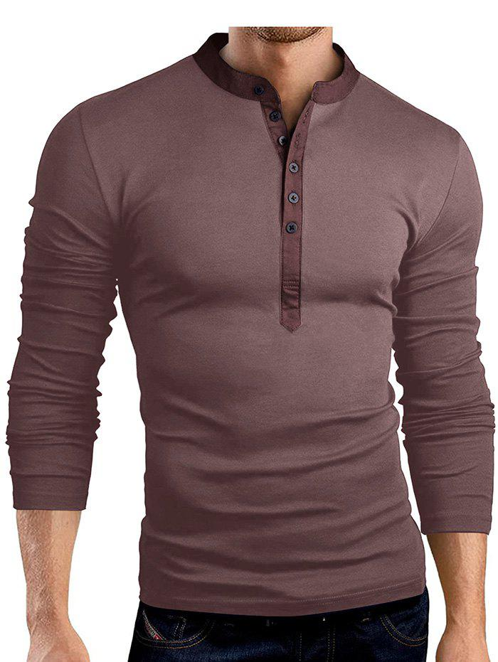 7e7f44bc6a4 42% OFF] Solid Color Fashionable V-neck Men T-shirt With Long Sleeve ...