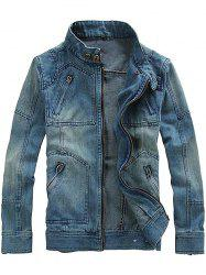 Fashionable Men Stand Collar Denim Jacket with Detachable Hat -