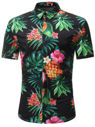 Trendy Floral Print Short Sleeve Shirt for Men -