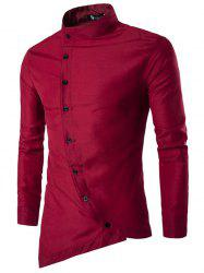 Trendy Asymmetric Stand Collar Long Sleeve Shirt for Men -